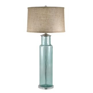 lamp works recycled glass cylindrical table lamp in blue farmhouse