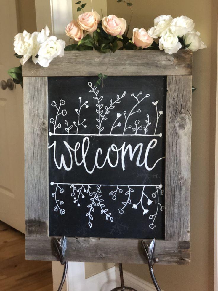 Willkommensschild Hochzeit Willkommen Willkommensschild Selbstgemachte Tafel Kreidetafel Designs