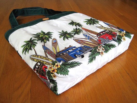 Large Tote Bag Hawaiian Surfboards Woodies Yellow by MaliakeiBags