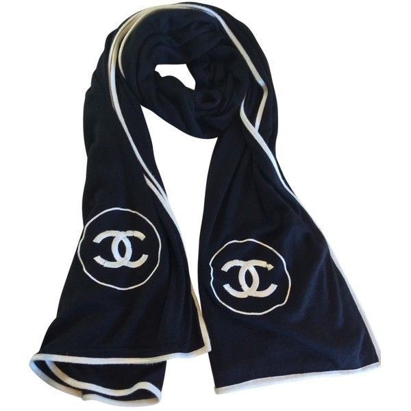 cf5a8c88 Chanel Cashmere Silk Scarf CHANEL (21,500 THB) ❤ liked on Polyvore  featuring accessories, scarves, black silk scarves, pure silk scarves, black  shawl, silk ...