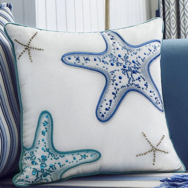 Set Of 2 Embroidered Blue Green Sea Snail And Starfish W Wooden Beads Pillow Cover Velvet Decorative Pillow Throw Pillow 18x18