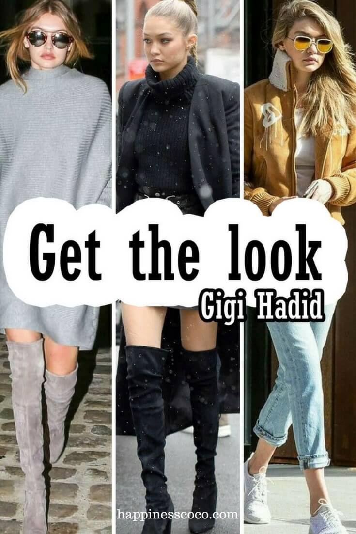 Get the look Gigi Hadid (en soldes) | happinesscoco.com | #outfit #winter #gigihadid #look #getthelook #tenue #style #look #hiver