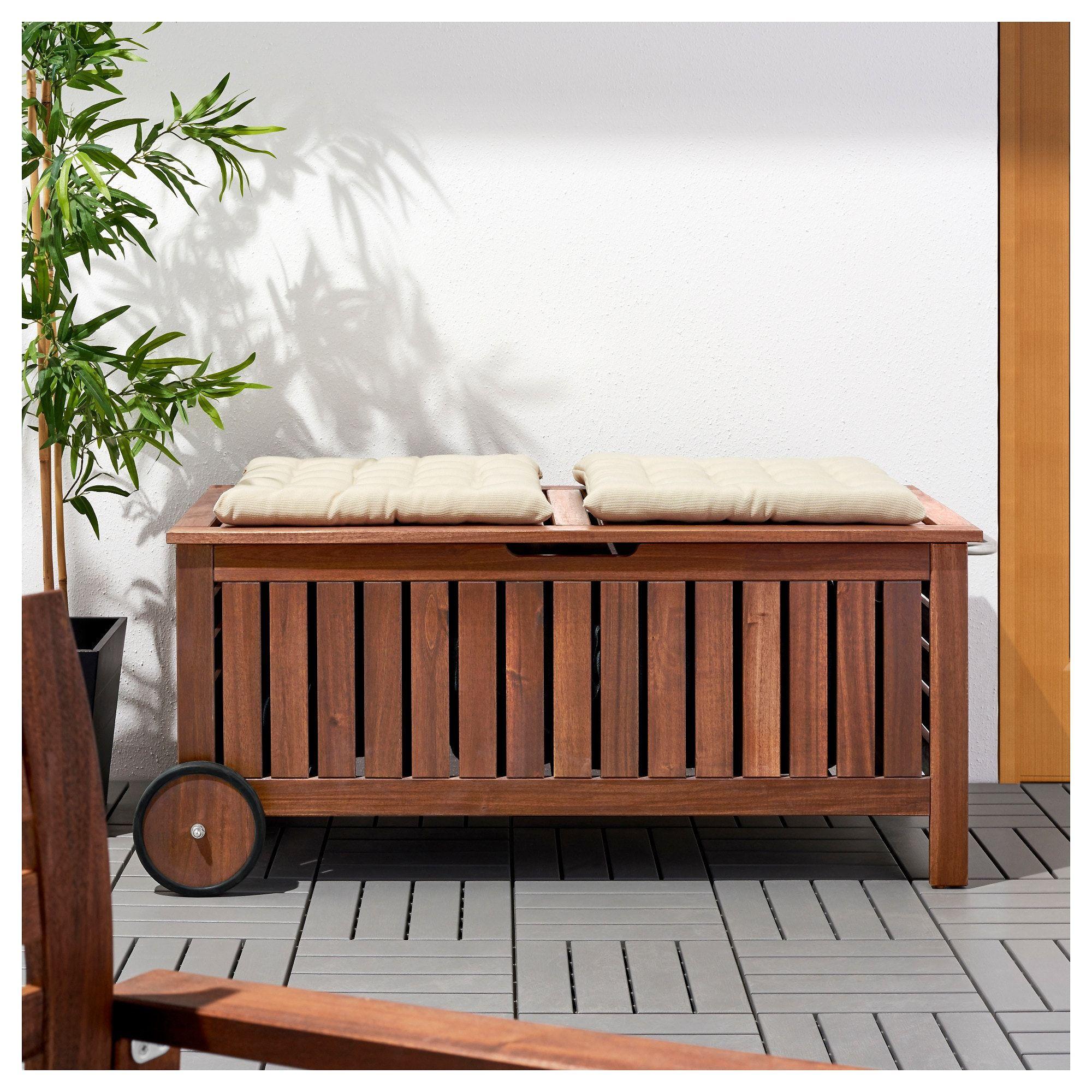 Applaro Storage Bench Outdoor Brown Stained Brown Width 50 3 8 Ikea Outdoor Storage Bench Storage Bench Ikea Garden