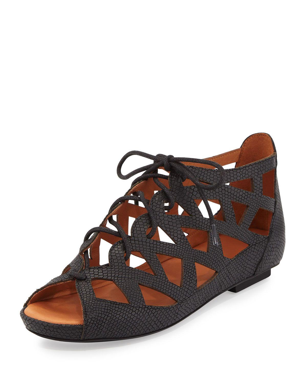 Brielle Lace-Up Cutout Sandal, Black, Women's, Size: 40.0B/10.0B - Gentle Souls