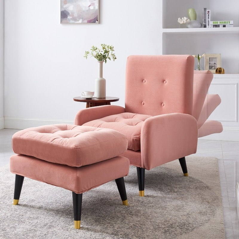 Mid-Century Pink/Green/Blue Velvet Upholstered Lounge Chair With Ottoman Botton Tufted Chair With Adjustable Back In 2020 | Tufted Chair, Blue And Pink Living Room, Pink Living Room