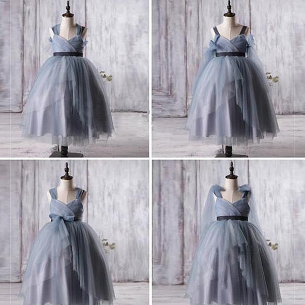 Dusty Blue Tulle Flower Girl Dresses, A-line Little Girl Dresses ...