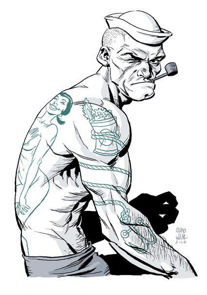 feed listings seatails popeye sailor anchor pipe tattoo flash art