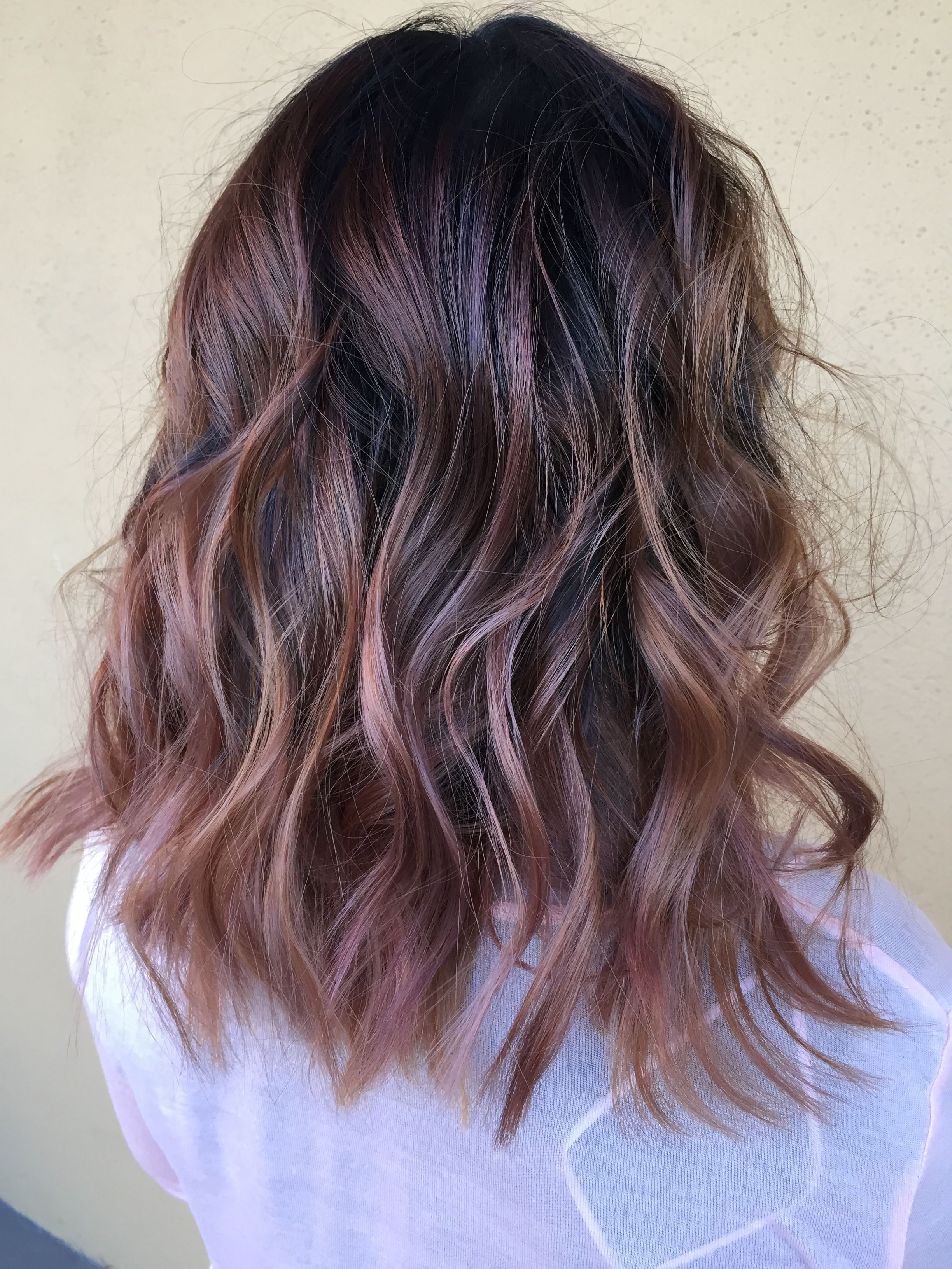 Dusty Rose Gold Balayage On D Lushus By Allison Gregg At Rockin Locks In Long Beach Ca Blonde Hair Colour Shades Rose Hair Rose Gold Balayage