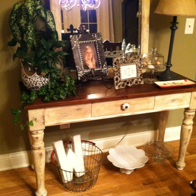 Broyhill Fontana Sofa Table Refinished With Annie Sloan Old White - Broyhill fontana dining room set
