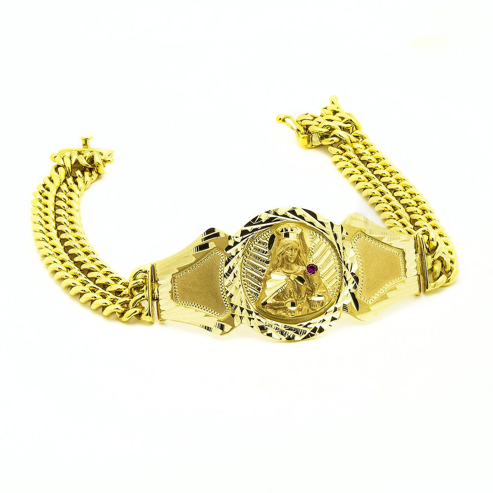 14k Yellow Gold Virgin Mary Mens Cuban Link Bracelet 57 0 Grams 8 5 Inches Uniqjewels Statement