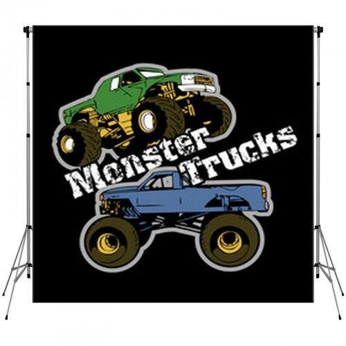 Monster Trucks Vector Decor Standard Backdrop   Monster ...