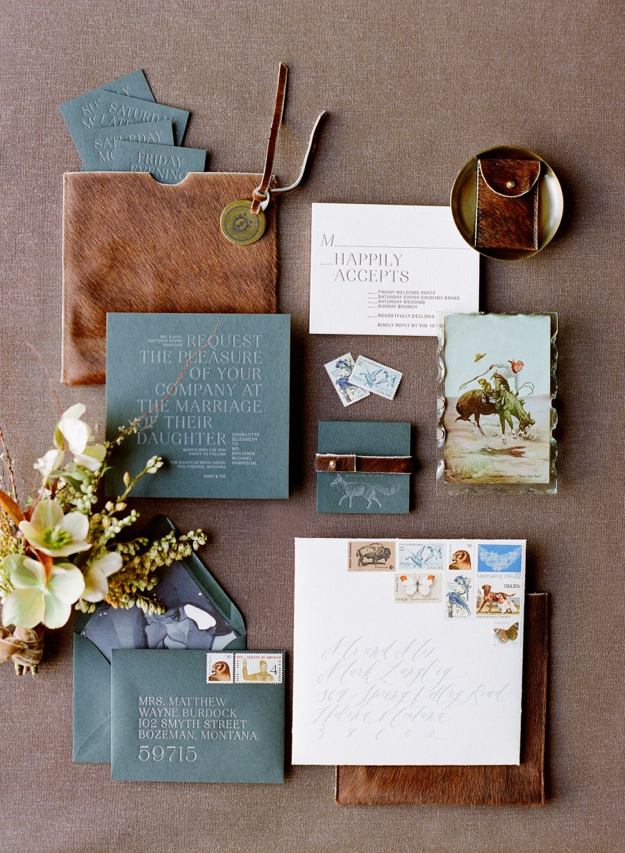 Rustic vintage leather wedding invitation paper suite