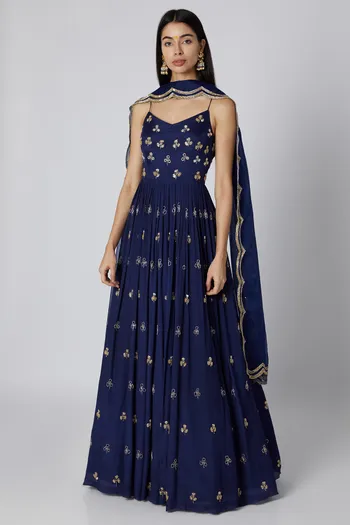 Blue Embroidered Anarkali With Dupatta Design by Ease at Pernia's Pop Up Shop #saridress