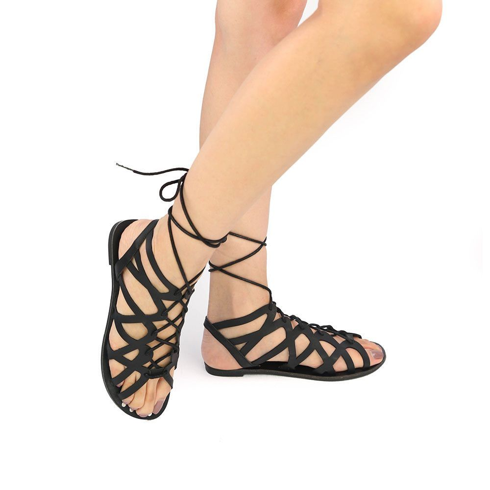 5a633a724588 ATHENA-974 Black A summer staple  the gladiators! These ankle-high sandals