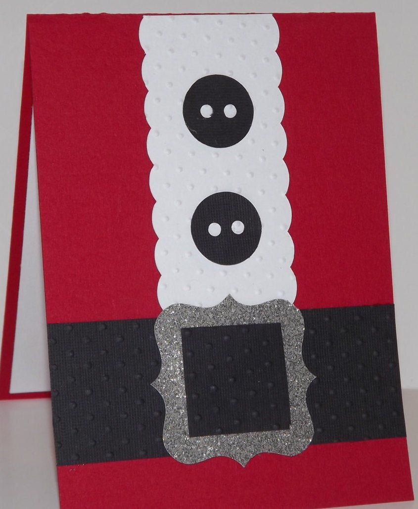 Santa Suit Christmas Card Red Black White Peace an