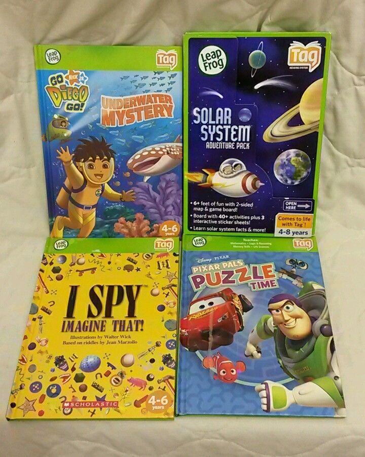 LOT OF 4 Leap Frog Tag Reader Books-Solar System, Pixar Pals, I Spy, Diego #LeapFrog