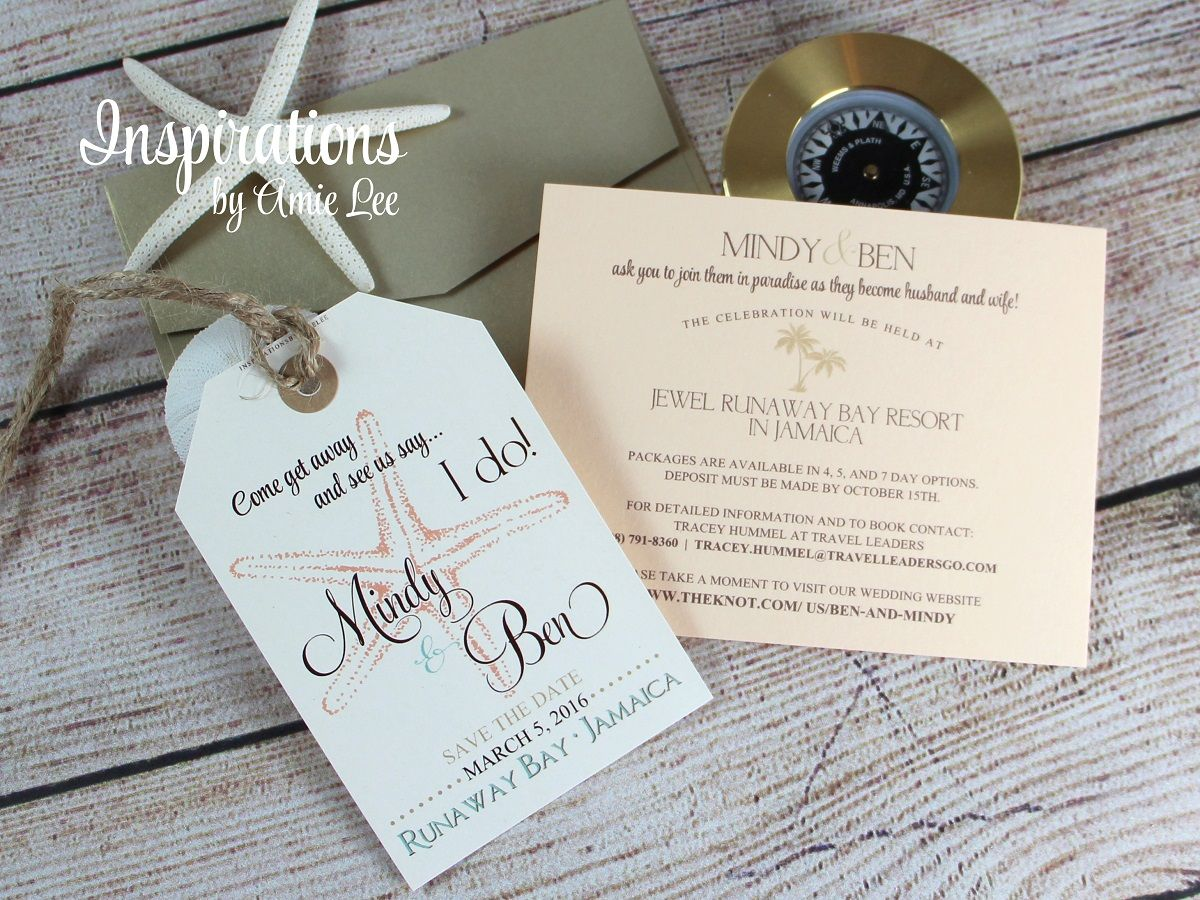 Luggage tag save the dates - WHITE TAGS, CHAMPAGNIUM ENVELOPES ...