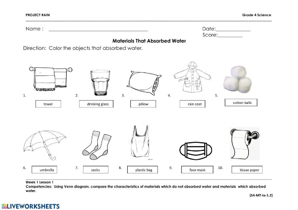 Materials that absorb water interactive and downloadable