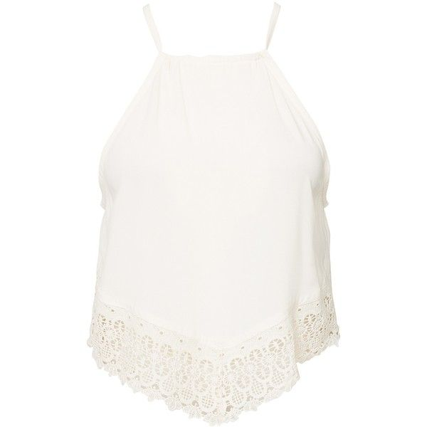 d25d4874d8 Nly Trend Lace Tank (£23) ❤ liked on Polyvore featuring tops