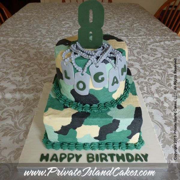 Camouflage Birthday Cake For 8 Year Old Boy With Name On Dog Tags
