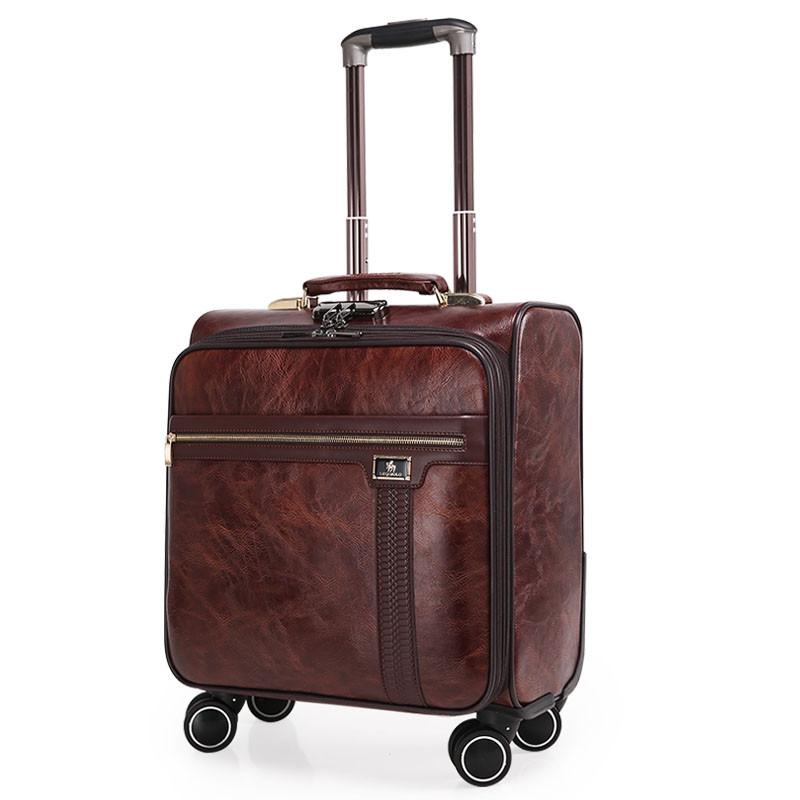 66fc8fb08e6c 16 INCH Coffee Leather Trolley Luggage Case Men s Business Suitcase with  wheels Travel Bag mala de viagem valiz