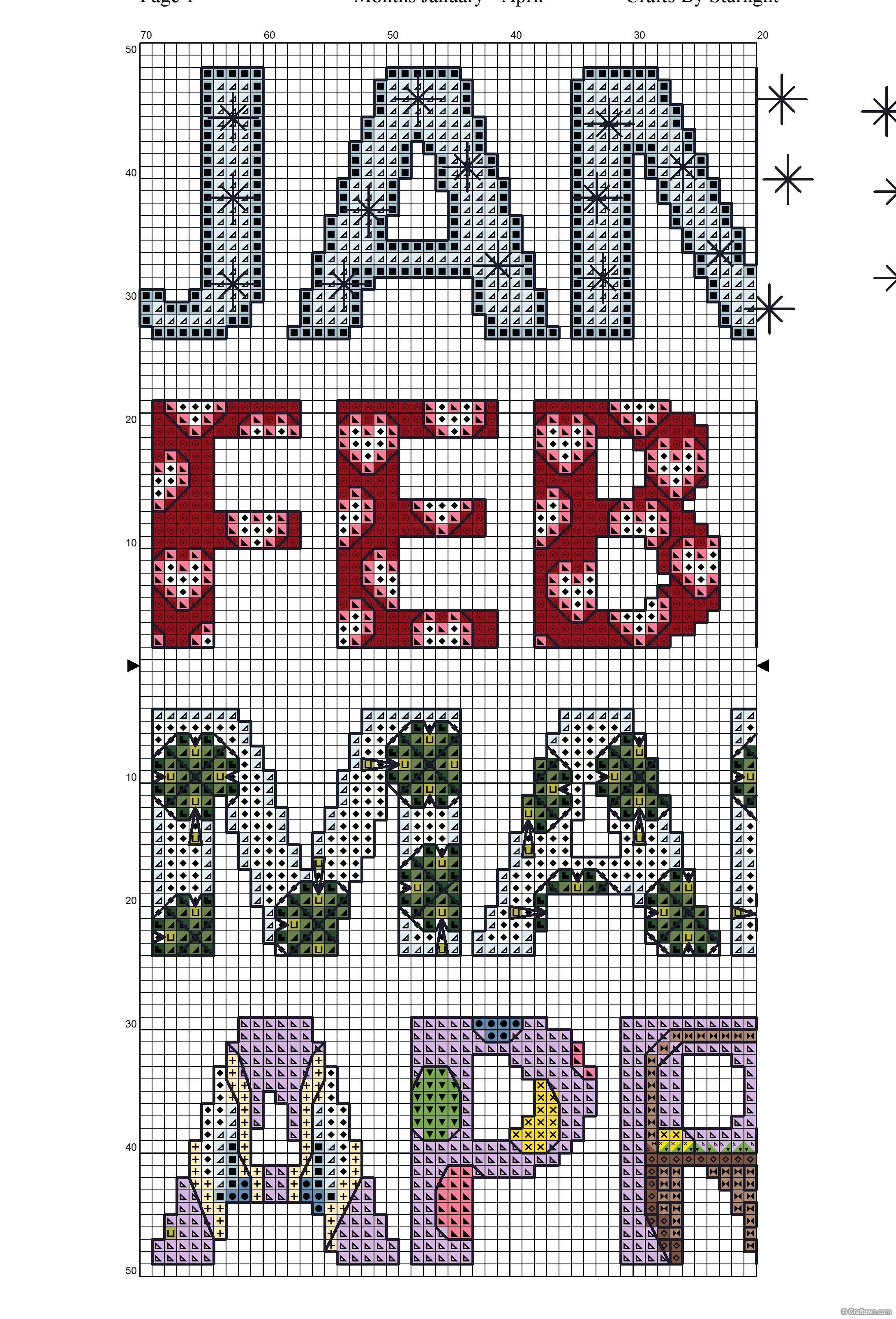 Months January to April - Free Cross Stitch Pattern!
