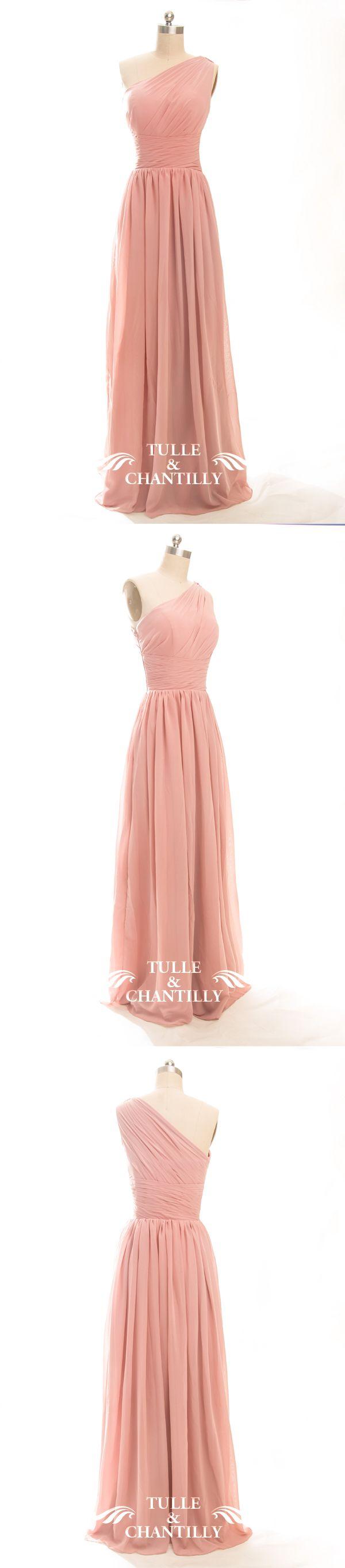 Long One Shoulder Bridesmaid Dress with Sash TBQP246 | Pinterest ...