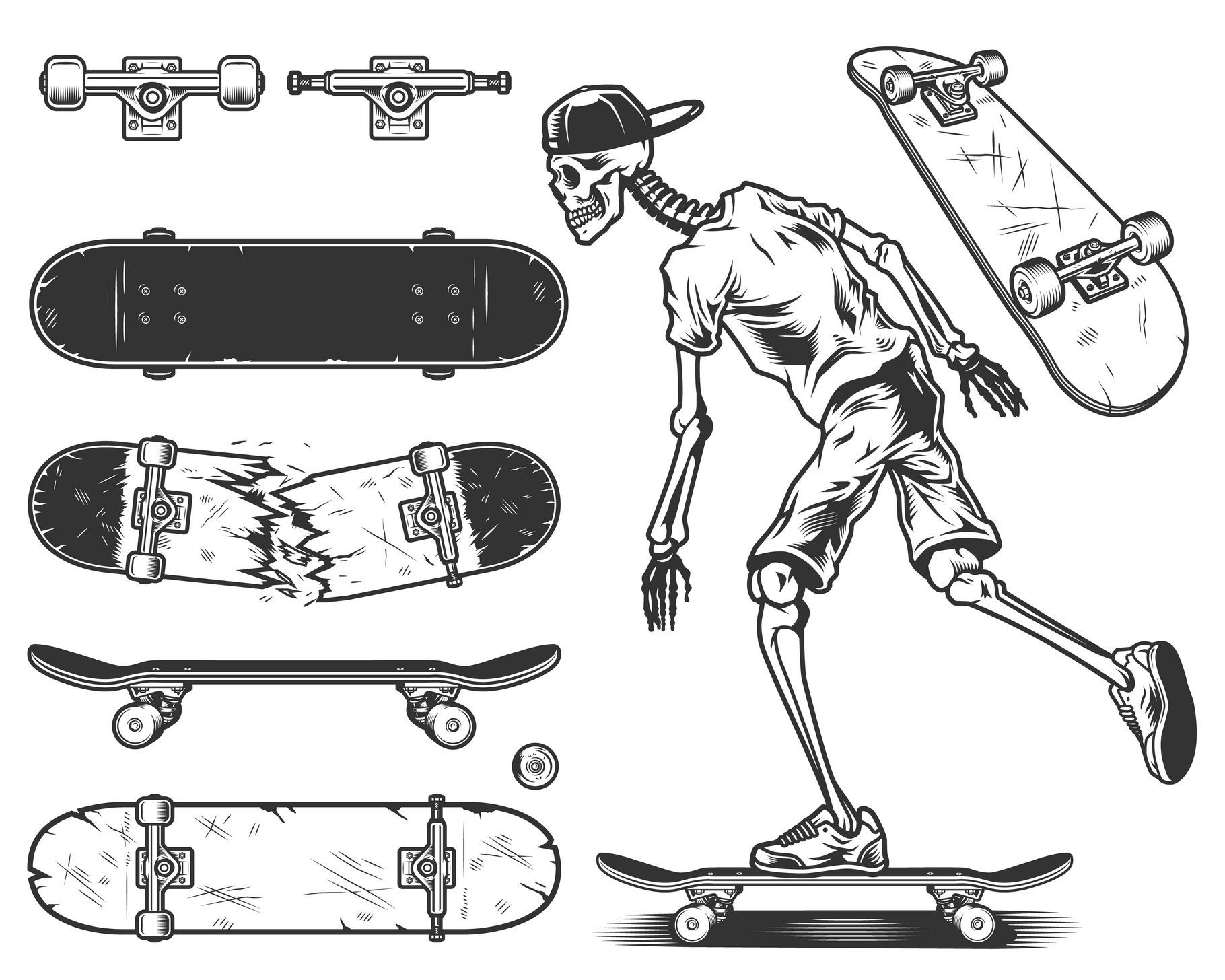 Classic Skateboard View From The Side Bottom And At An Angle Monochrome Contour Drawing Ad Sponsored View Side Classic Skateboard Tatueringsideer