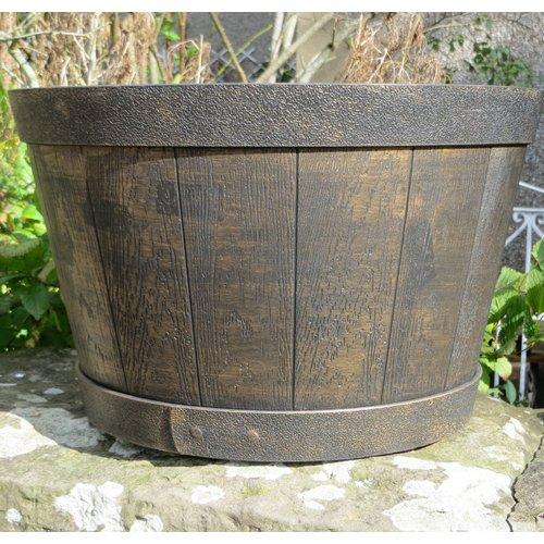 Stout Plastic Barrel Planter Freeport Park Colour Gold Size 28 Cm H X 39 Cm W X 39 Cm D In 2020 Plastic Barrel Planter Barrel Planter Wooden Garden Planters