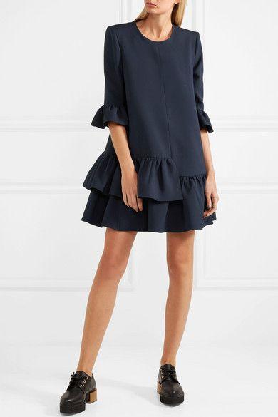 Ruffled Wool-blend Mini Dress - Midnight blue Alexander McQueen RABuevz