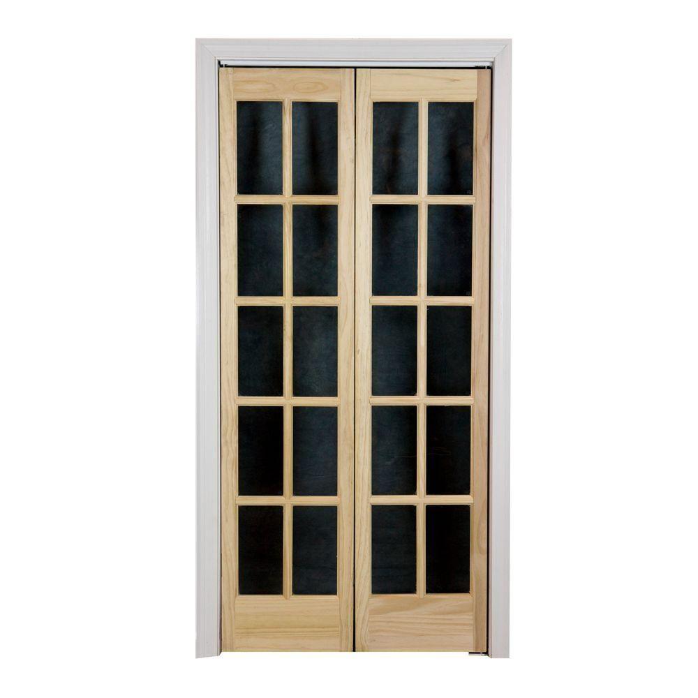 Classic French Glass Wood Universal/Reversible Interior Bi Fold Door