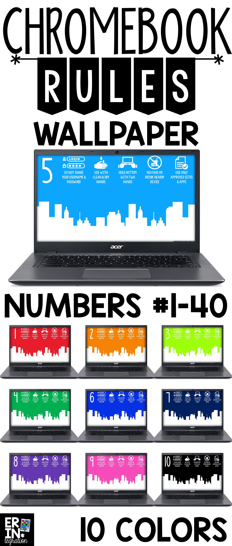 Chromebook Backgrounds With Rules Numbers Classroom Tech School Technology Teacher Tech