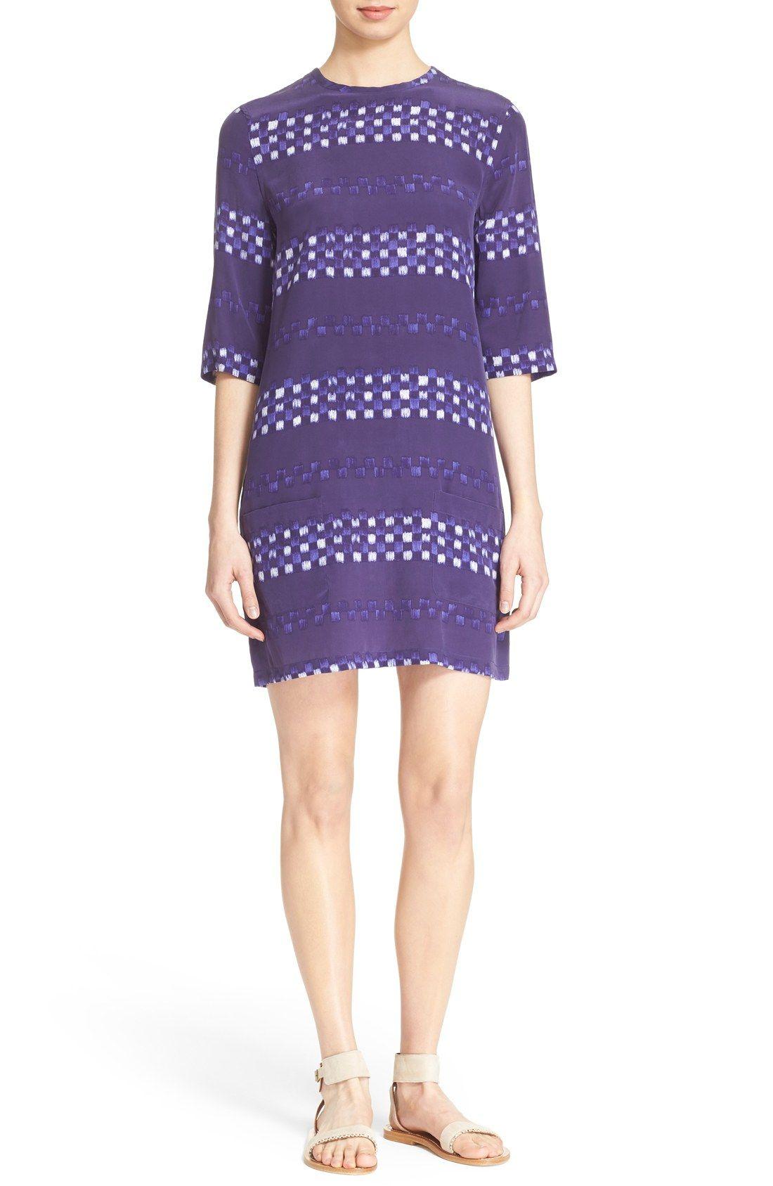 Equipment 'Aubrey' Grid Stripe Silk Shift Dress