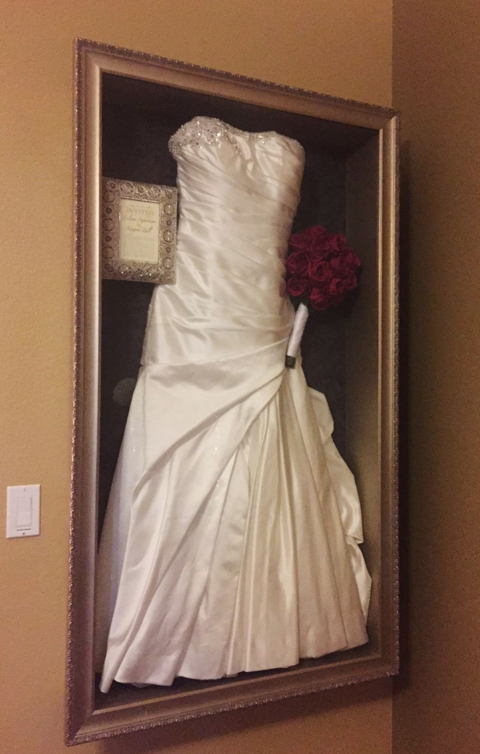 Framed Wedding Dress With Invitation And Bouquet Recessed Into The Wall Framed By Floral Wedding Dress Frame Wedding Dress Display Wedding Dress Shadow Box
