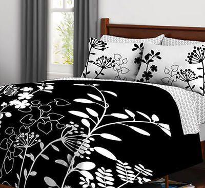 Black white flower teen girls full double comforter set 7 piece black white flower teen girls full double comforter set 7 piece bed in bag mightylinksfo