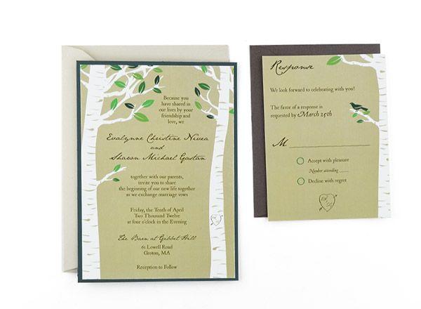 Birch Trees -Free Wedding Invitation Template