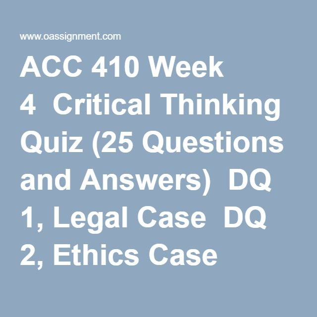 critical thinking quiz answers