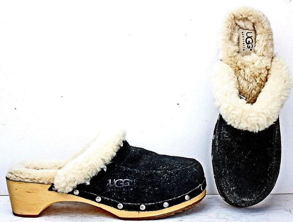79bb2e92175 UGG Australia Womens Kalie Clogs sz 8 Black Suede Leather Shearli ...