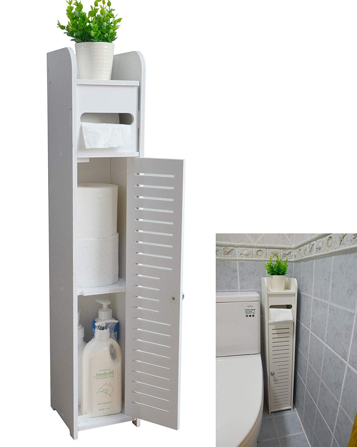 Photo of Aojezor Small Bathroom Storage Corner Floor Cabinet with Doors and Shelves, Thin…