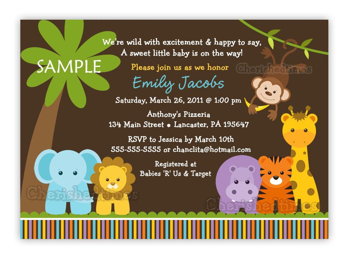 Jungle Safari Wild Animals Baby Shower Invitation (You Print ...