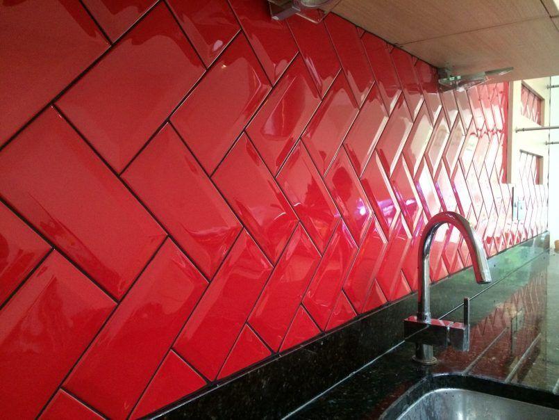Kitchen Breathtaking Amazing Red White And Black Tiles For Mesmerizing