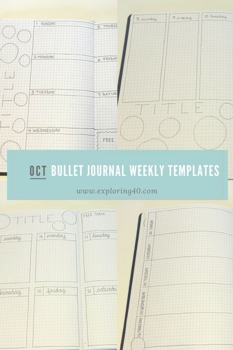 Bullet Journal Weekly Templates \u2013 October 2017 Bullet, Journal and