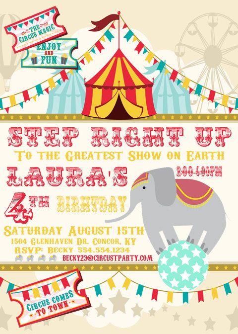 Circus Invitation Printable Birthday Personalized Invite DIY