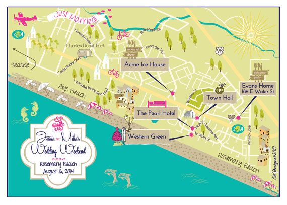 Personalized Wedding Map Rosemary Beach Alys By Cwdesigns2010