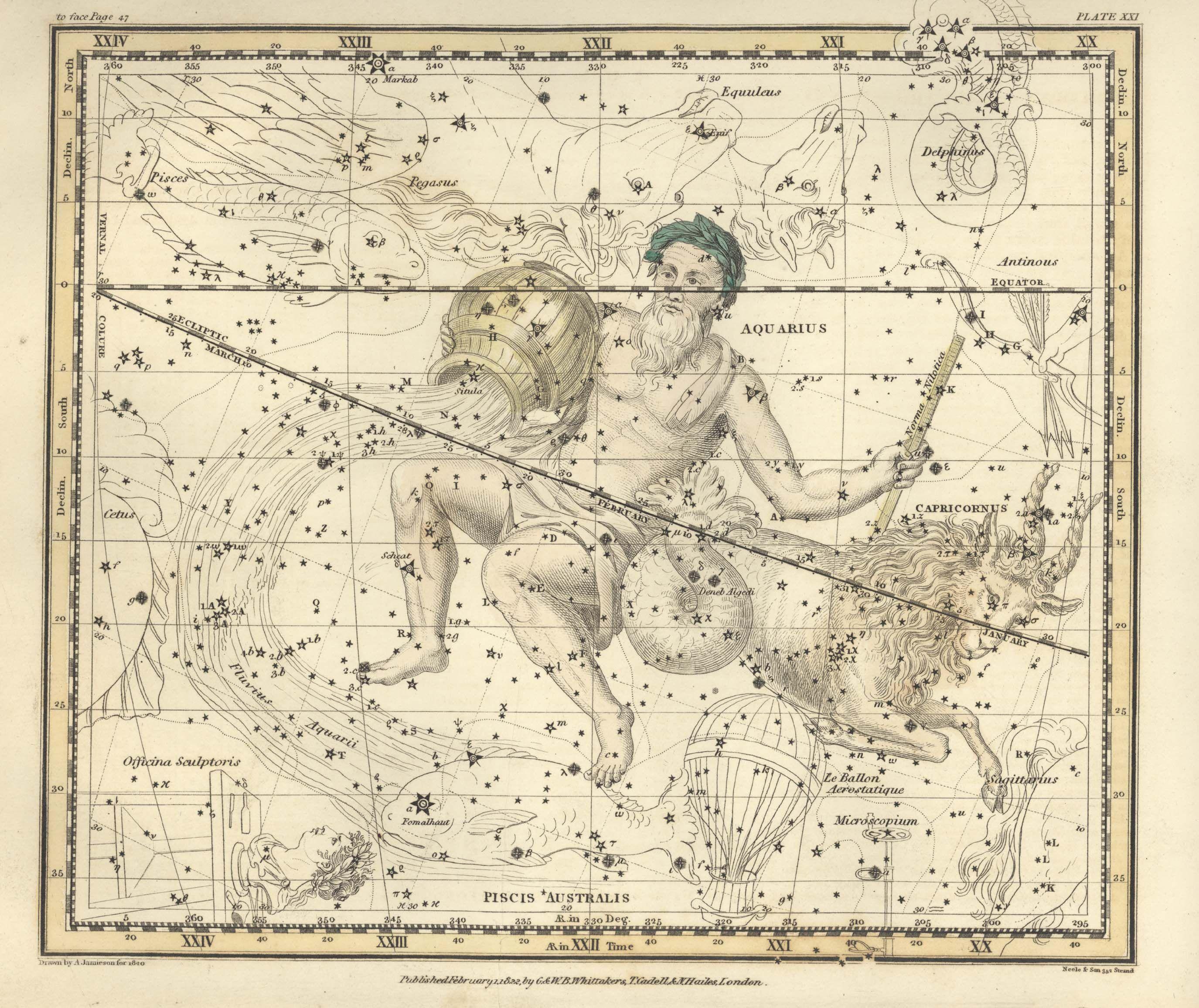 Aquarius and Capricornus - Alexander Jamieson - Celestial Atlas
