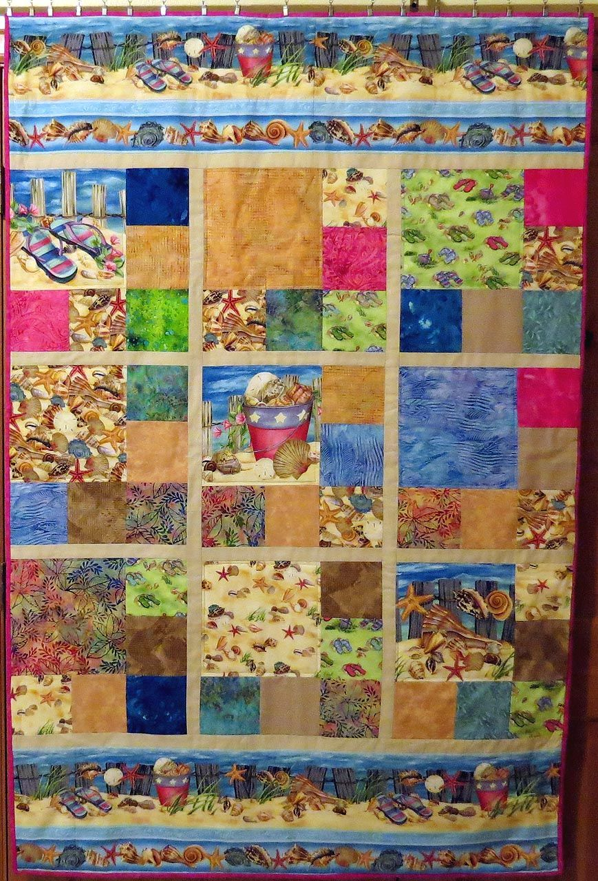 Sew What S Cookin A Day At The Beach Quilt 8 Beach Quilt Beach Themed Quilts Panel Quilts