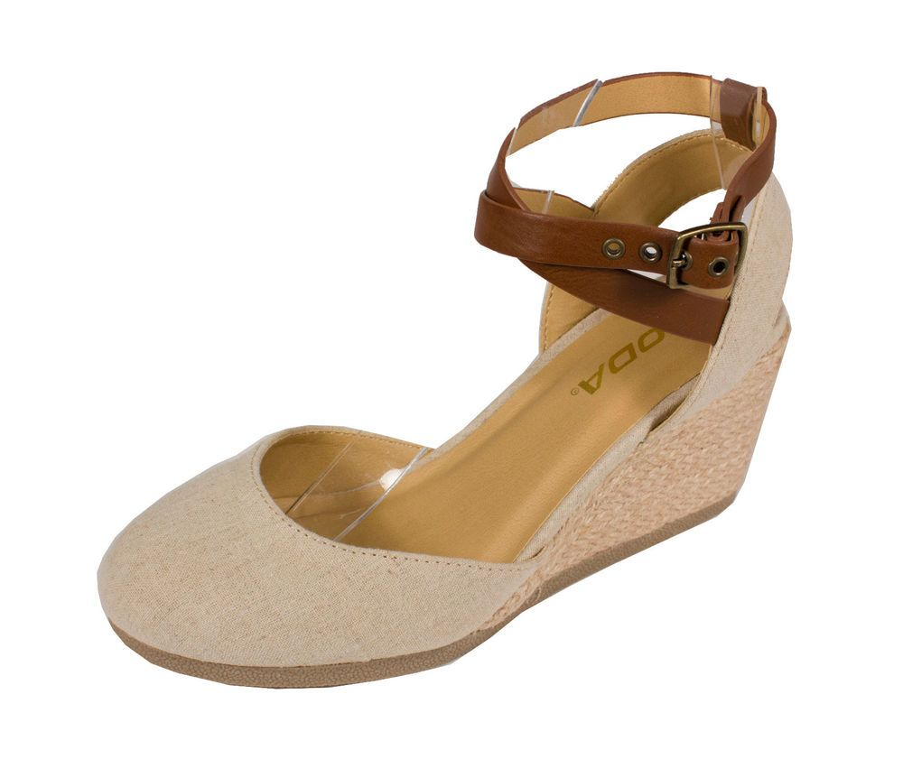 Womens sandals wedges - Details About Request Soda Women S Closed Toe Espadrille Wedge Sandal Natural Tan Linen
