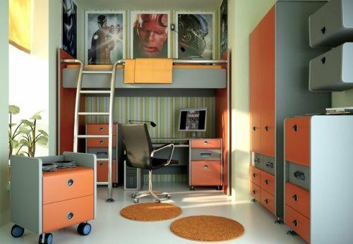 jugendzimmer design orange grau farbschema Ikea ideen - schlafzimmer ideen orange