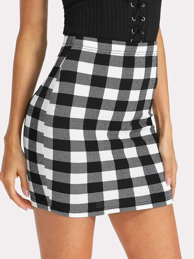 a2510e3f7c Shein Plaid Bodycon Skirt in 2019 | Products | Body con skirt ...