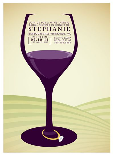 Festive Wine Theme Bridal Shower Invitations by Wine Country ...